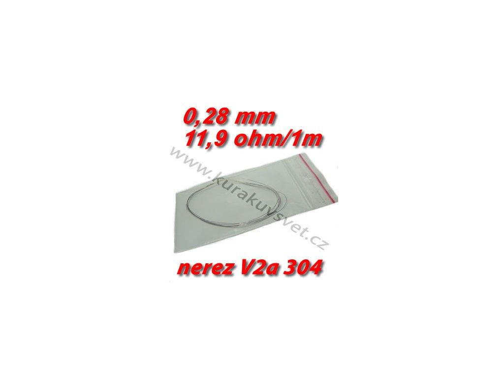 4m Odporový drát nerez V2a 304 0,28mm 11,9ohmu