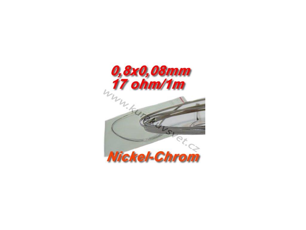 Odporový drát Nickel-Chrom 0,8x0,08mm 17ohmu, Plochý