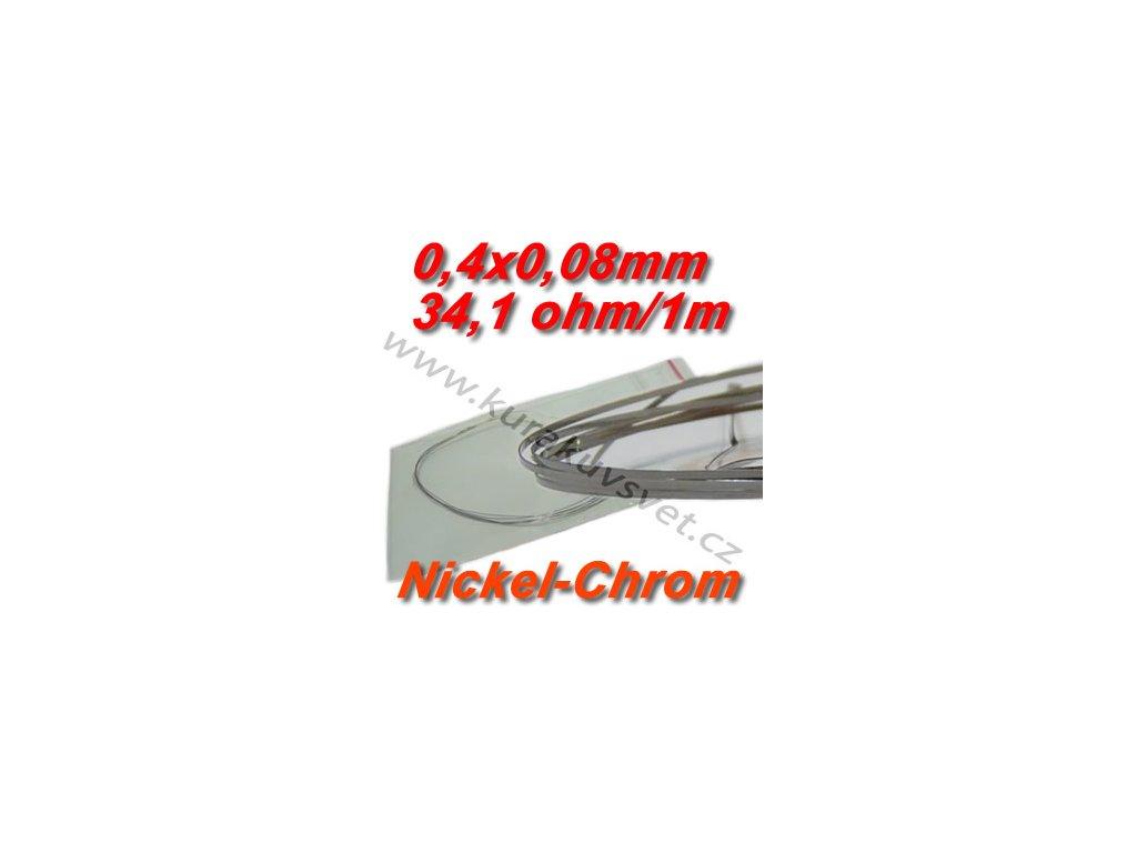 Odporový drát Nickel-Chrom 0,4x0,08mm 34,1ohmu, Plochý