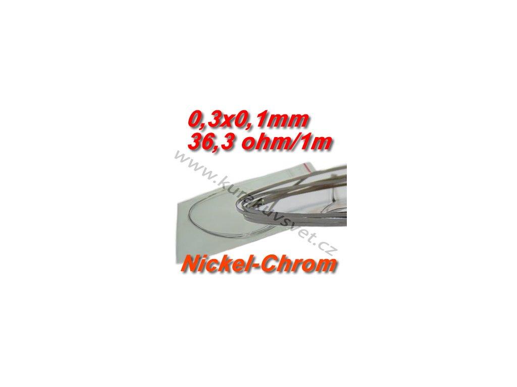 Odporový drát Nickel-Chrom 0,3x0,1mm 36,3ohmu, Plochý