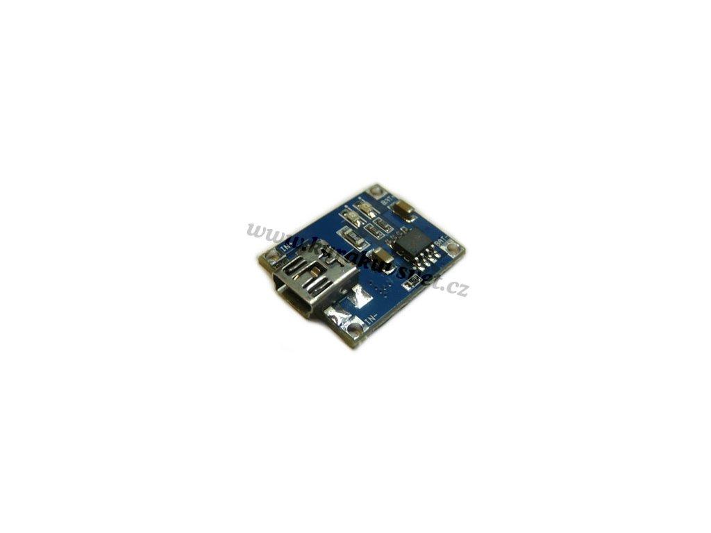 Modul nabíjení Li-ion baterií s mini USB