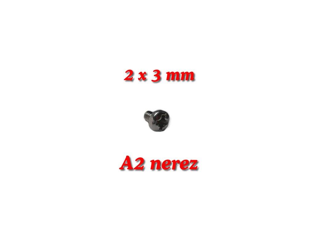 5 ks šroubky M2x3mm válcová hlava