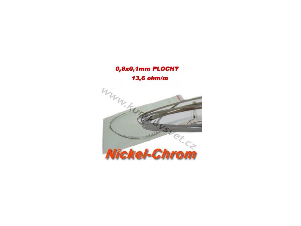 Odporový drát Nickel-Chrom 0,8x0,1mm Ribbon 13,6ohmu, Plochý