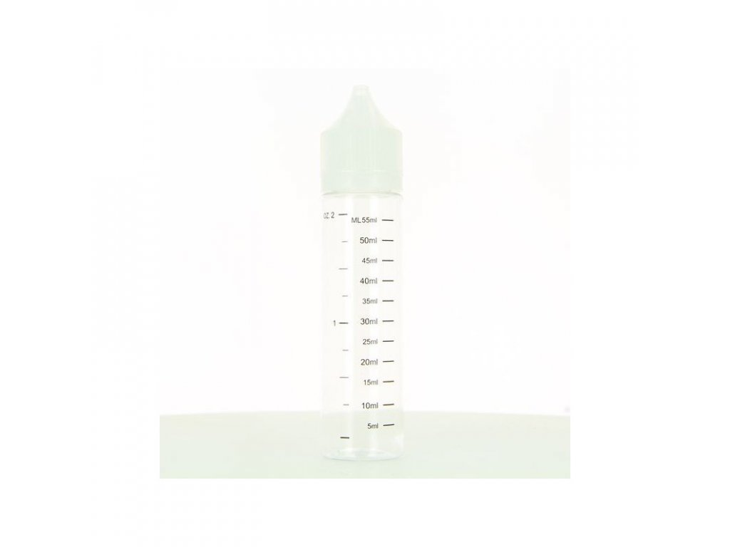60ml průhledná lahvička s kapátkem a ryskou