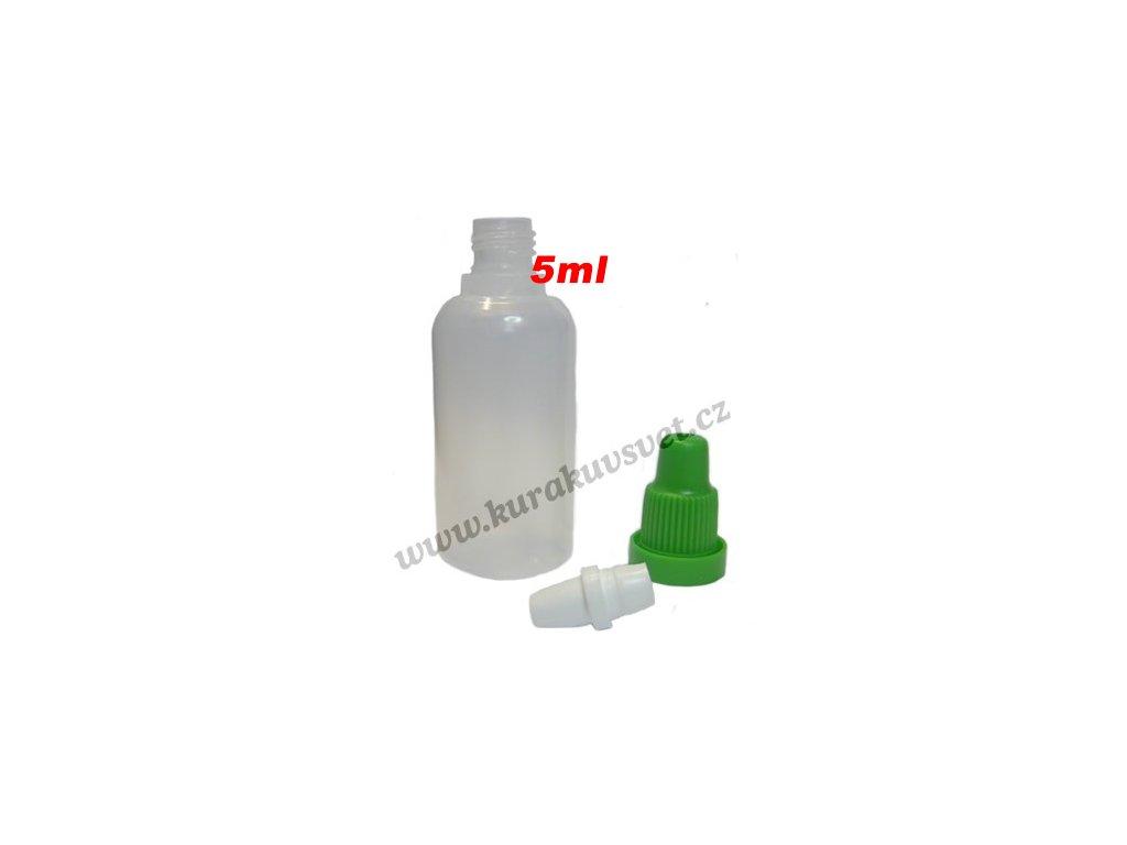 poloprůhledná lahvička různé objemy, barevná víčka