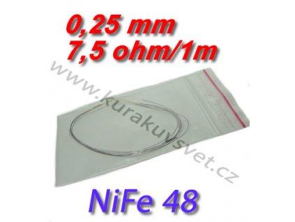 Odporový drát NiFe48 0,25mm 7,5ohmu
