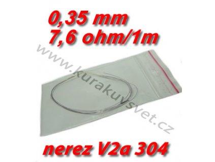 Odporový drát nerez V2a 304 0,35mm 7,6ohmu