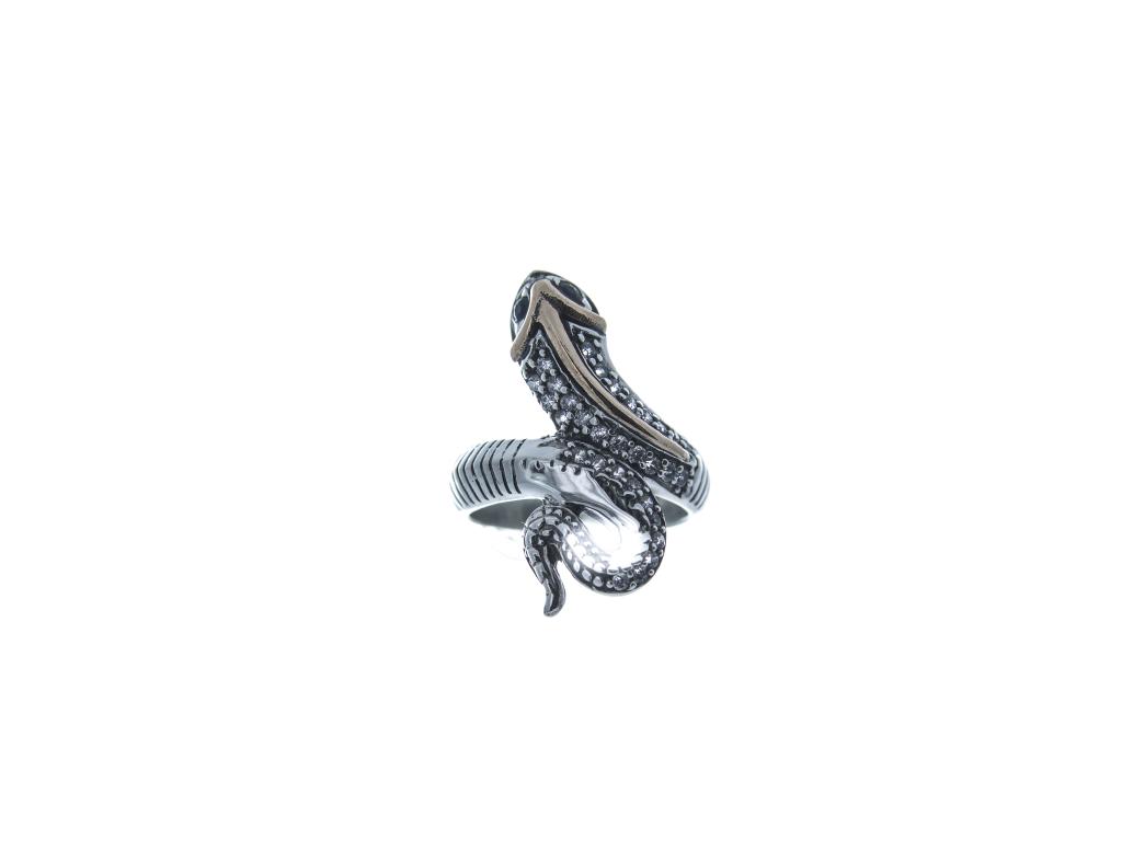 Stříbrný prsten Had (bílé a modré zirkony)