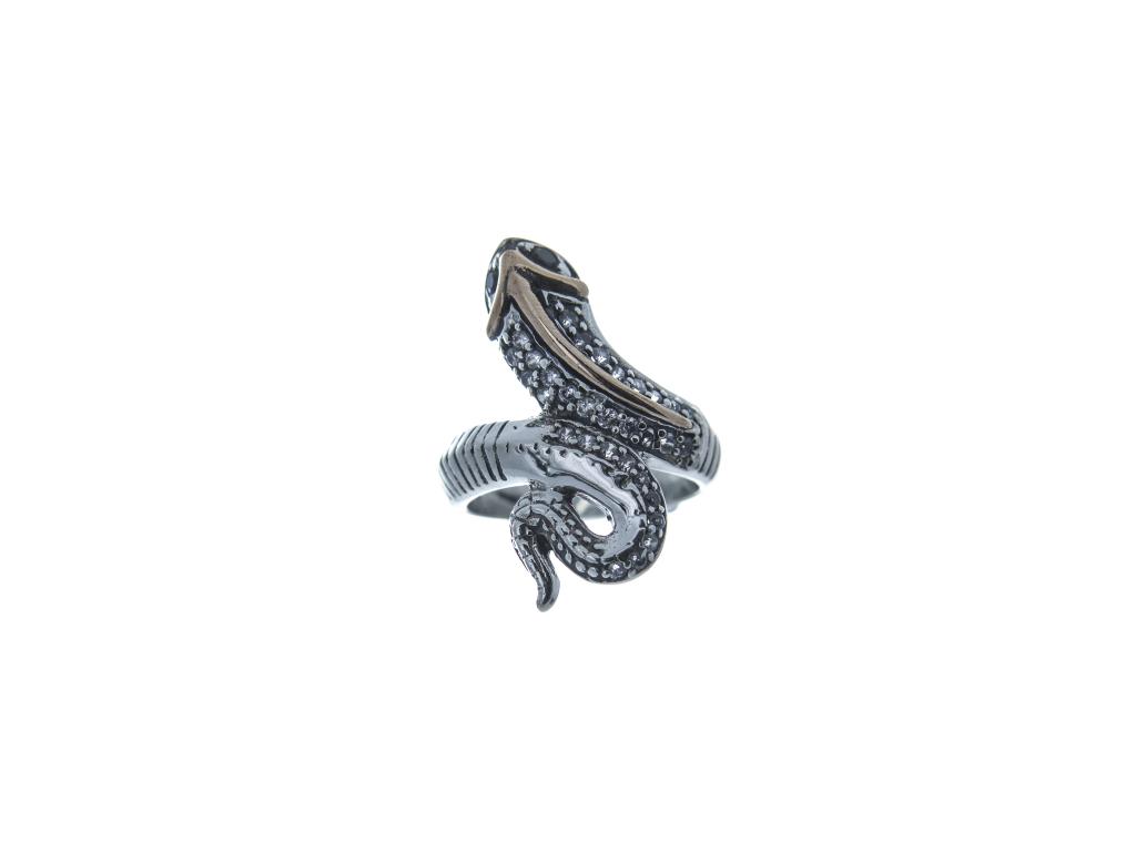 Stříbrný prsten Had (bílé a černé zirkony)