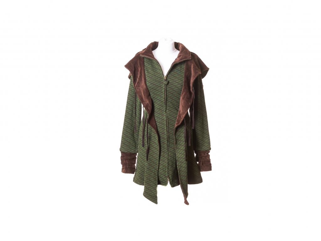 Krátký kabát Apaté se zavazováním a kapucou