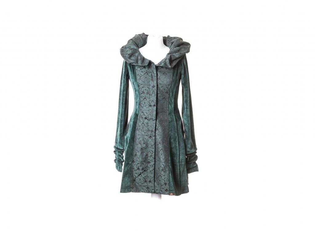 Krátký kabát Héra se širokou kapucou na knoflíky