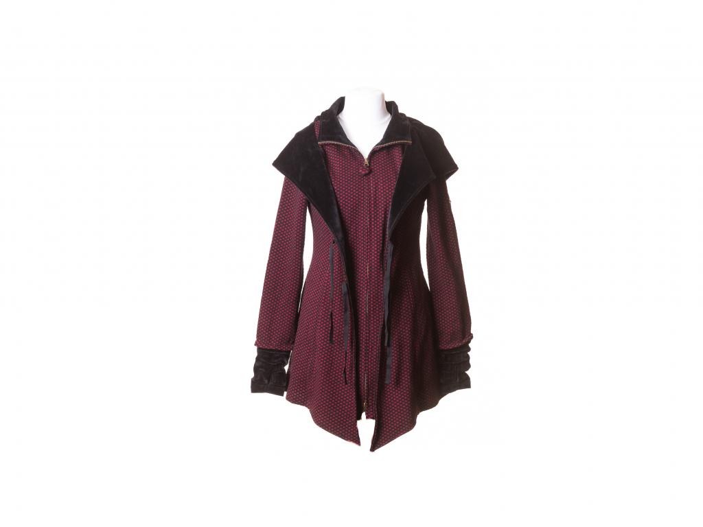 Krátký kabát Hestia s kapucou a zavazováním (husté káro)
