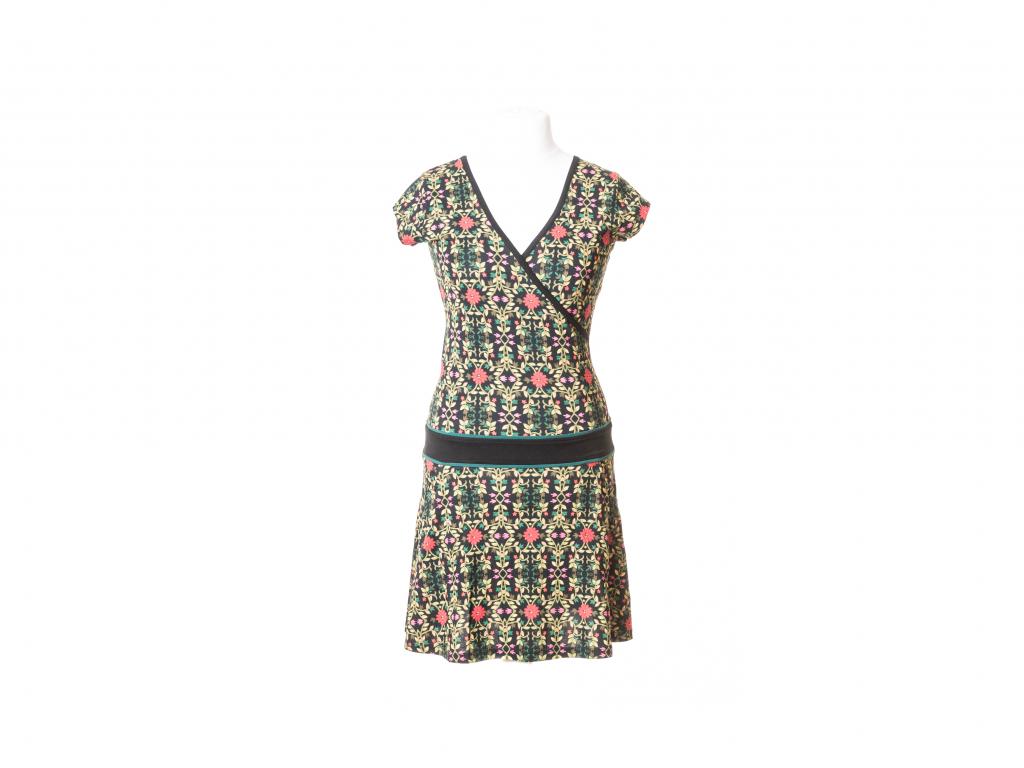 Krátké šaty s krátkým rukávem (květinový vzor)