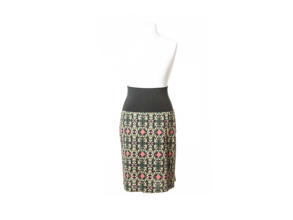 Sukně pod kolena s pružným pasem (květinový vzor)