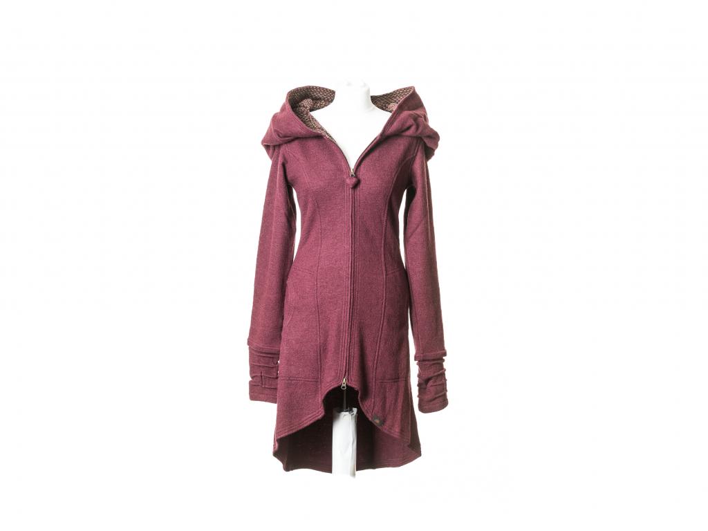 Polodlouhý kabát Dioné, merino, vínový