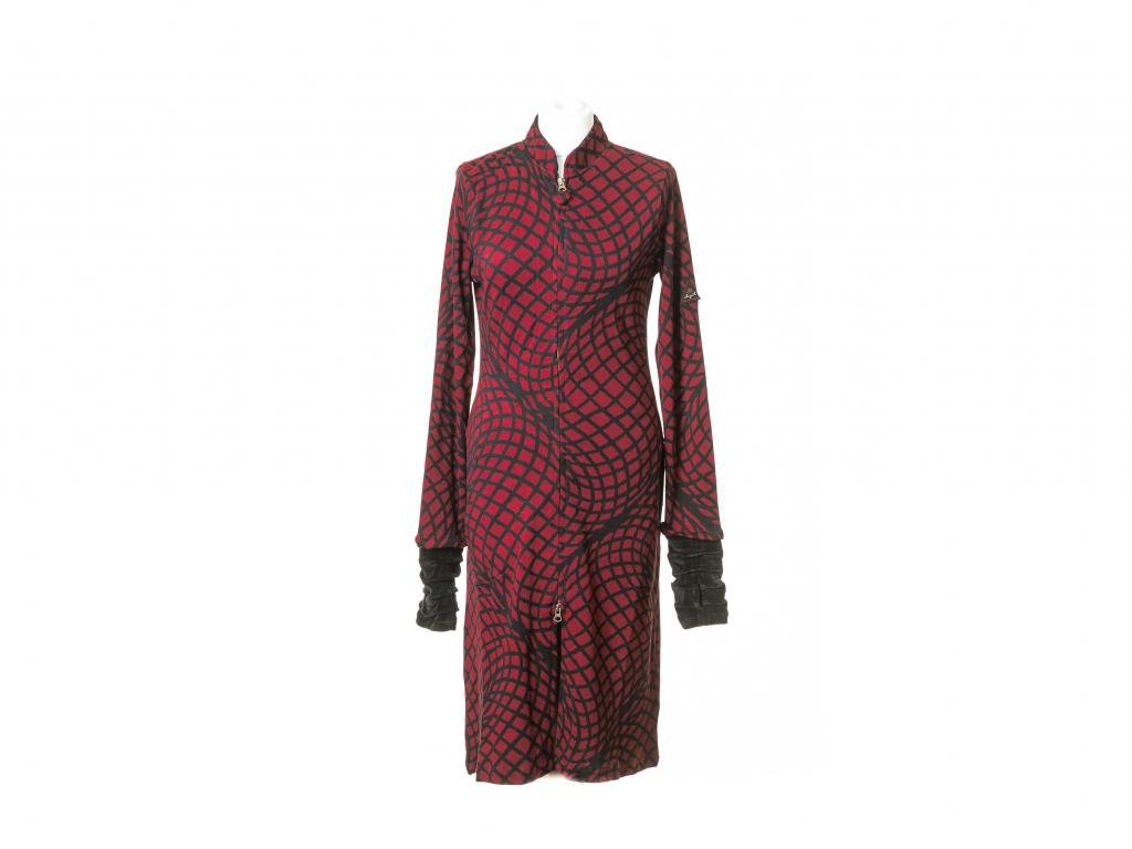 Polodlouhý lehký kabát Morfóza, vínový
