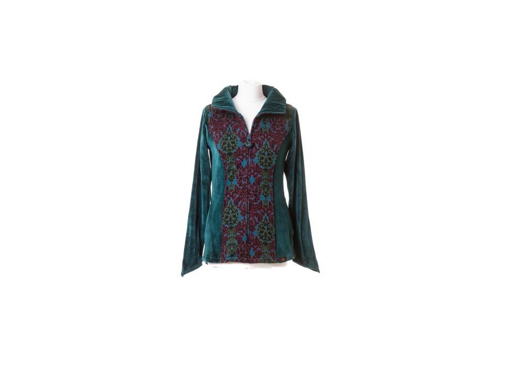 Dámská mikina na zip, sametové rukávy, vzor ornament