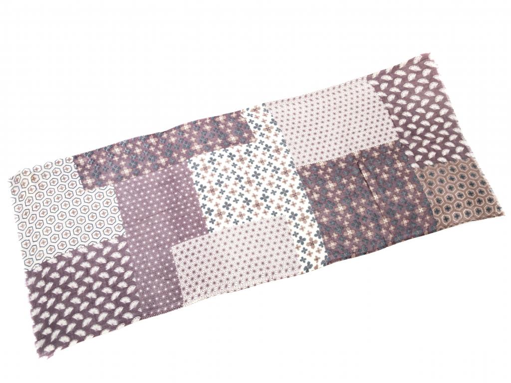 Vlněný šál smetanovo fialový dekorativní vzor