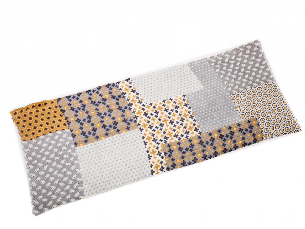 Vlněný šál šedo zlato modré ornamenty