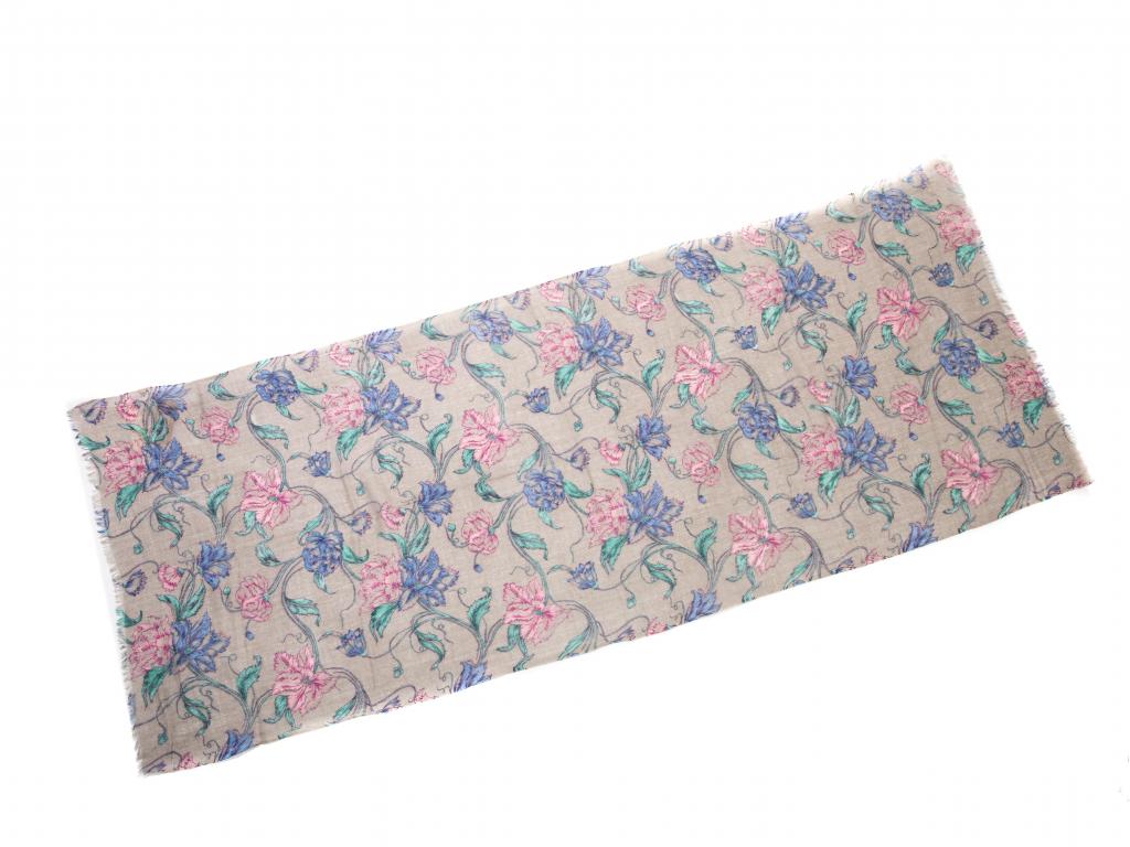 Vlněný šál šedý s velkými květy