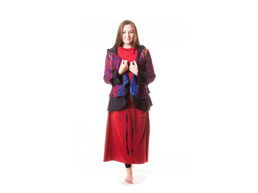 Elfí kabátek krátký, červeno-fialovo-oranžový