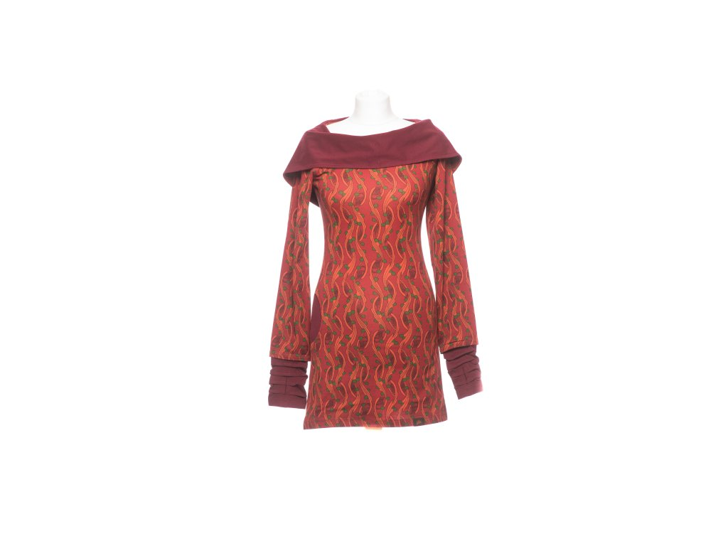 Krátké šaty s širokou kapucou (tunika)