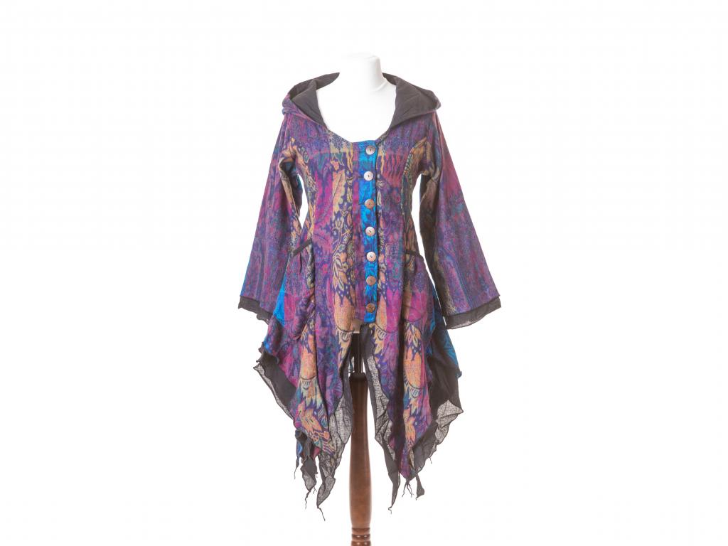 Kabátek Wicca, oranžovo-fialovo-modrý