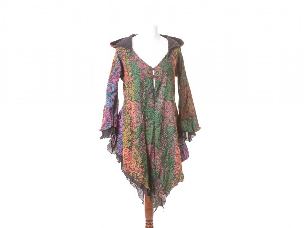 Elfí kabátek, zeleno-oranžovo-fialový