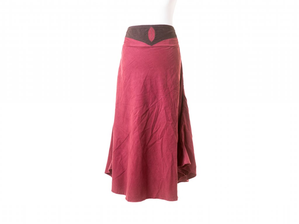 Manšestrová dlouhá sukně s lístečkem