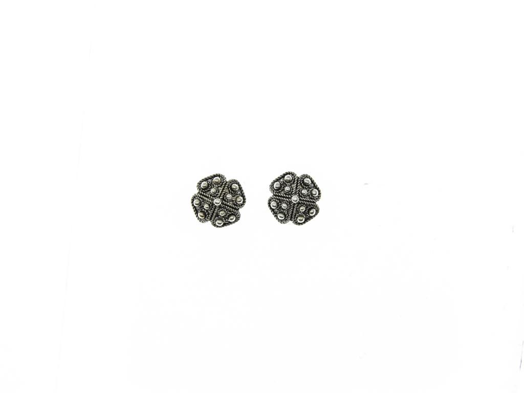 Stříbrné náušnice Čtyřlístek, průměr 11 mm