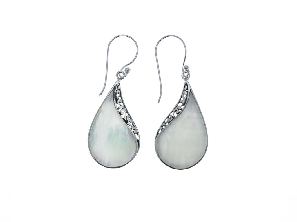 Stříbrné náušnice Slza s perletí a ornamentem