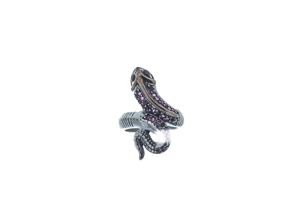 Stříbrný prsten Had (červené zirkony)