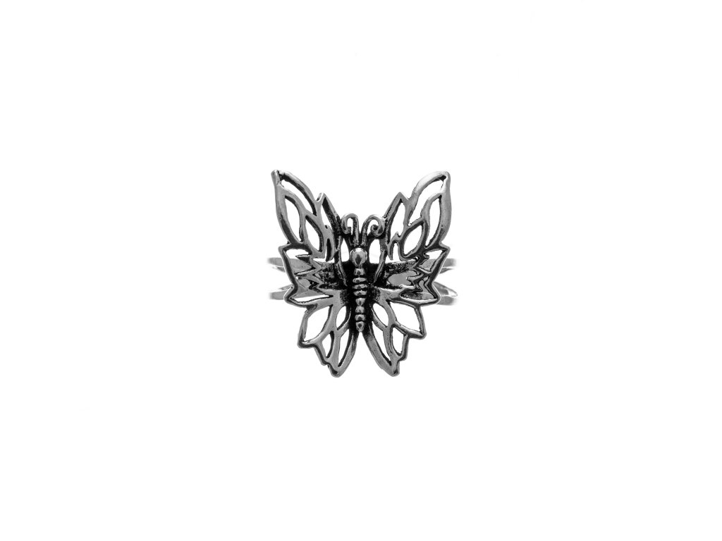 Stříbrný prsten Motýl plastický