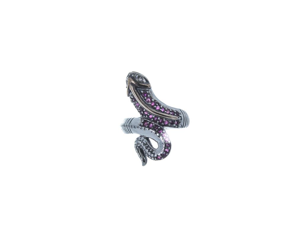 Stříbrný prsten Had (červené a bílé zirkony)