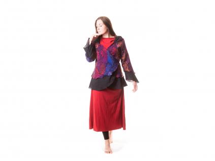 Elfí kabátek krátký, fialovo-červeno-oranžový