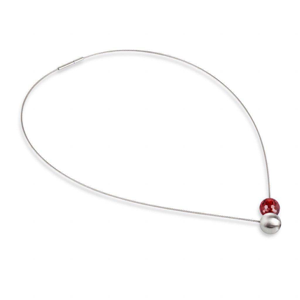 náhrdelník 052 červený zirkon kuráž