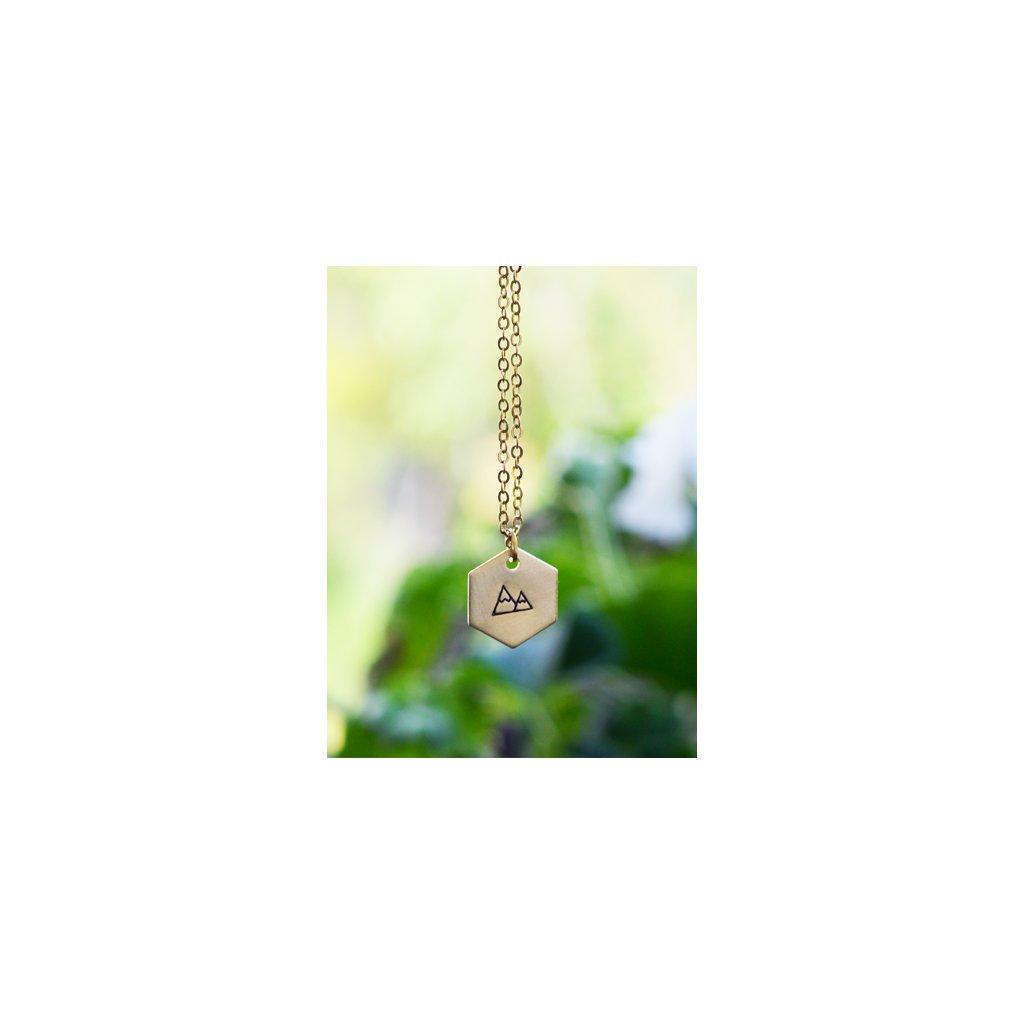 hexagon mountain necklace