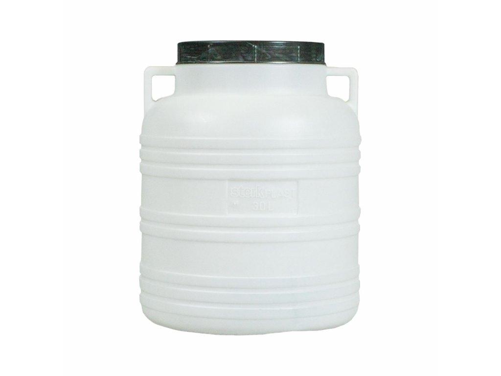 Barel 30L plastový kulatý široké hrdlo  STERK bílá/modrá