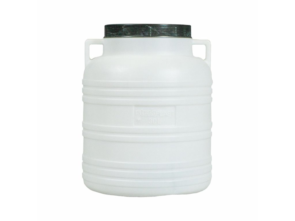 Barel 40L plastový kulatý široké hrdlo  STERK bílá/modrá