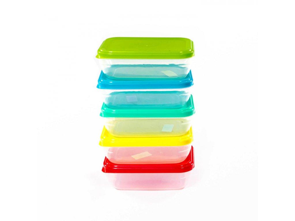 Dóza 0,5L obdelníková nízká  FOOD, mix barev