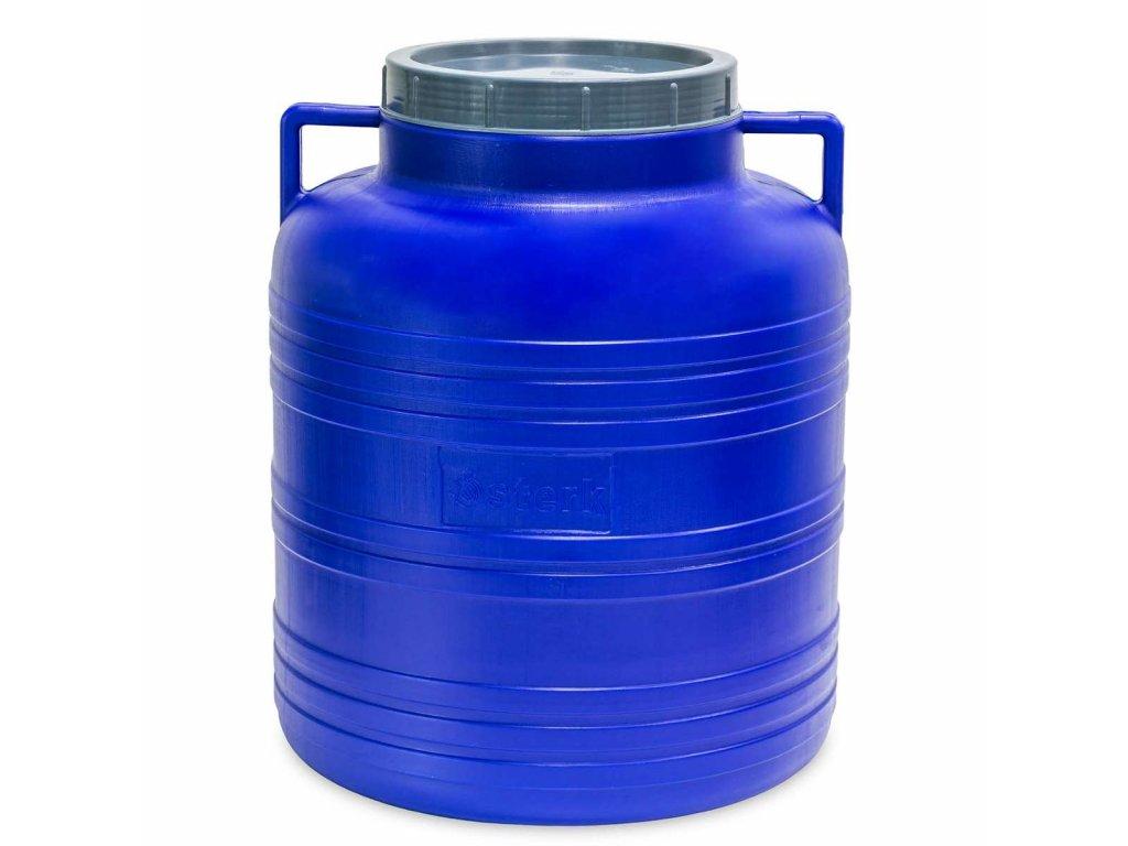 Barel 60L plastový kulatý široké hrdlo  STERK bílá/modrá