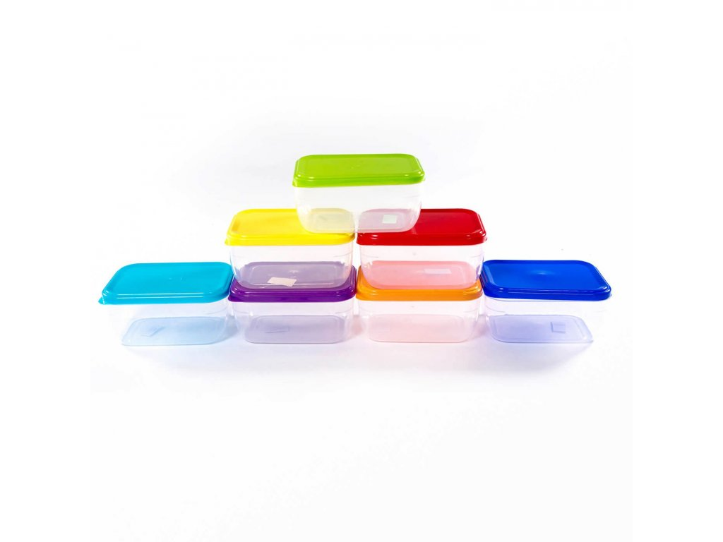 Dóza 1,5L obdelníková střední  FOOD, mix barev