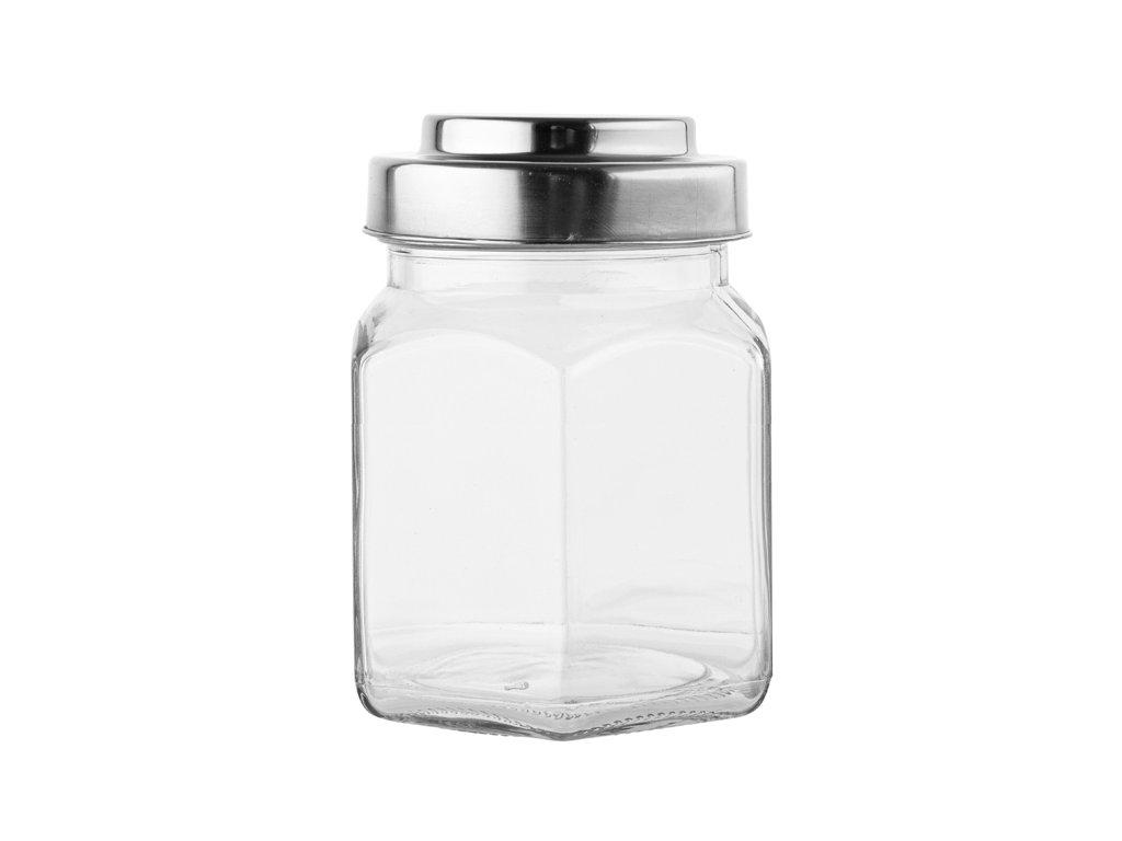 Dóza sklenice 0,8L s kovovým víkem  PRIZMO