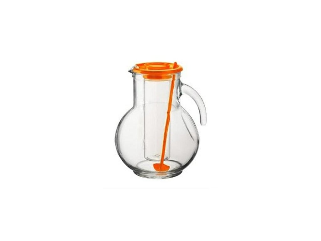 Džbán sklo 2L s chladící vložkou oranžový  KUFRA