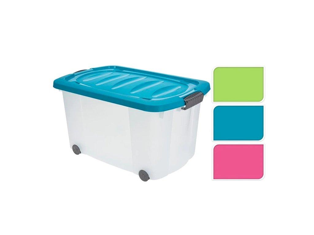 Box úložný 60x40x32cm 76L s kolečky  CEV, mix barev