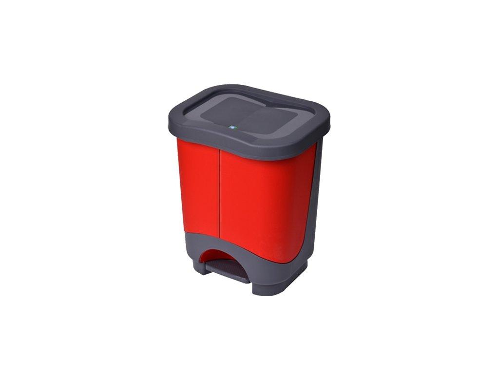 Koš odpadkový tříděný odpad 2x10,5L pedálový  EKOLUX, mix barev