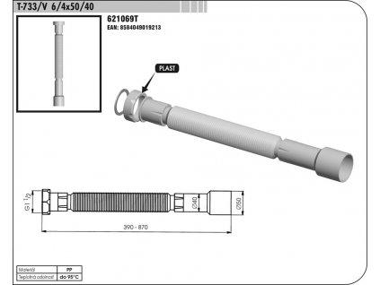 Sifon FLEXI T 733 6/4 x 50/40mm s maticí  SAM