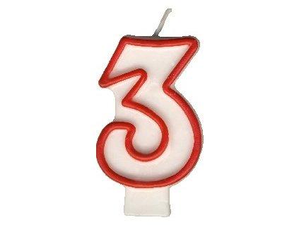Svíčka dortová číslice ´´3´´ 7,5cm