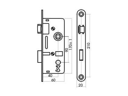 Zámek zadlabací stavební K6090/40 PL klíč  TESLA