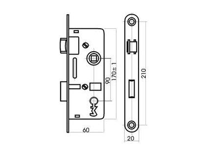 Zámek zadlabací stavební K6090/45 PL klíč  TESLA